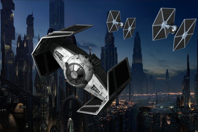 Sci Fi - Star Wars Planet Sci Fi Moon People Spaceship Space TIE Fighter  Wallpaper