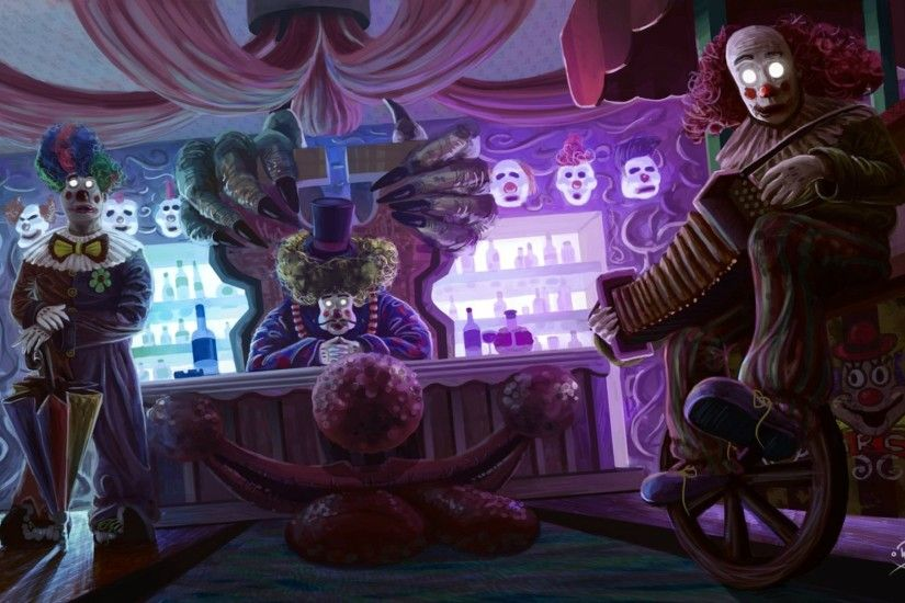 Download Illustration Horror Clown Circus Creepy w Wallpaper At Dark  Wallpapers