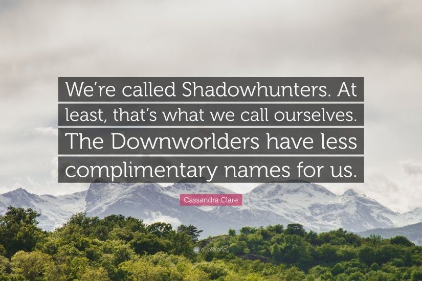 "Cassandra Clare Quote: ""We're called Shadowhunters. At least, that's what"