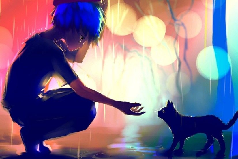 1920x1080 - anime boy, cat, raining, scenic, sad, loneliness # original