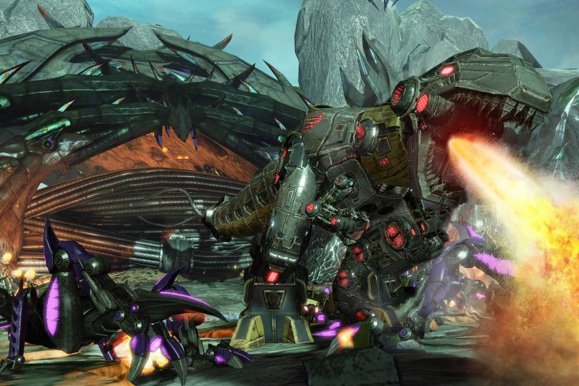 Grimlock uses a cool-looking blade to carve up his enemies, as we saw in  the provided stage, where small Insecticons charge him while a fellow  captive ...
