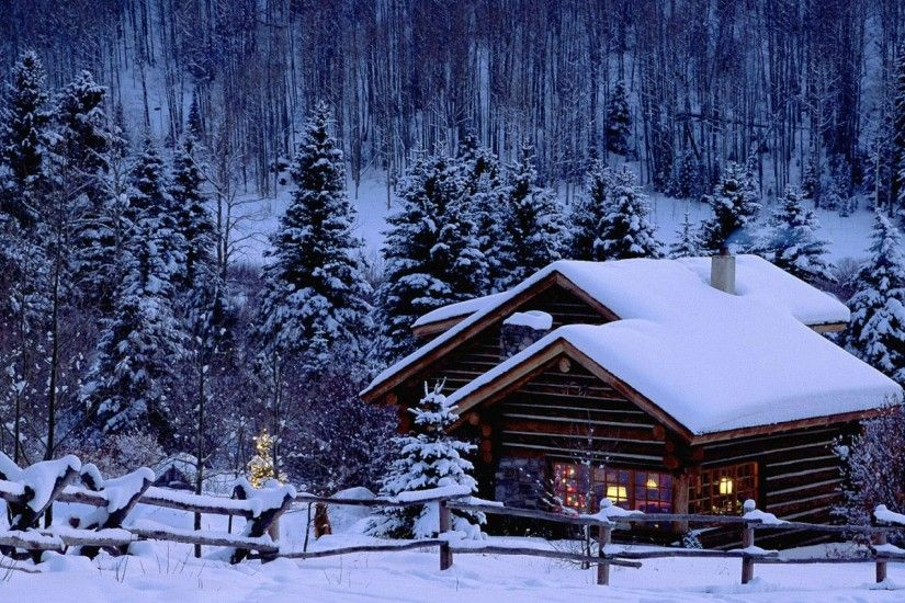 dreamy, scene, snow, wallpaper, scenery, warmly, house
