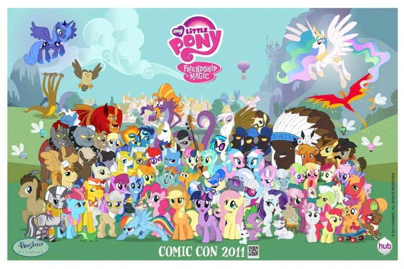 The image is a group shot of all the characters who have appeared in  Friendship is Magic's Season 1, and includes several characters who had  been without ...