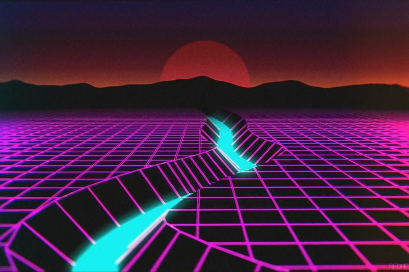 free synthwave wallpaper 1920x1080 for hd 1080p