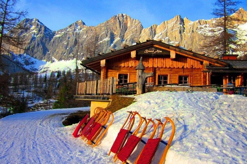 Austria Tag - Vacation Hotel Winter Cliffs Rest Snow Chalet Ramsau Sky  Resort Cottage Sledge Mountain