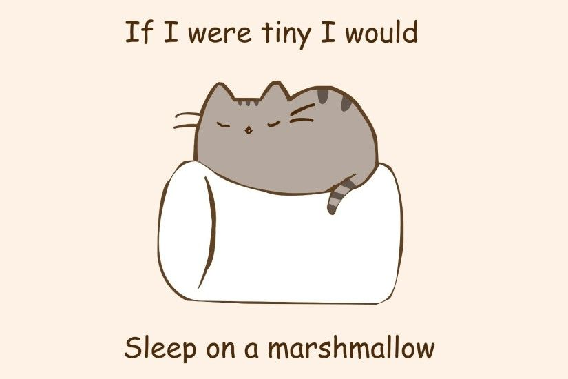 General 1920x1080 humor marshmallows quote cat pusheen artwork