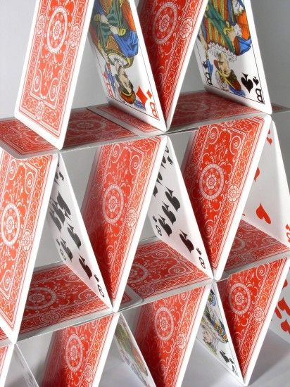 playing cards castle stack