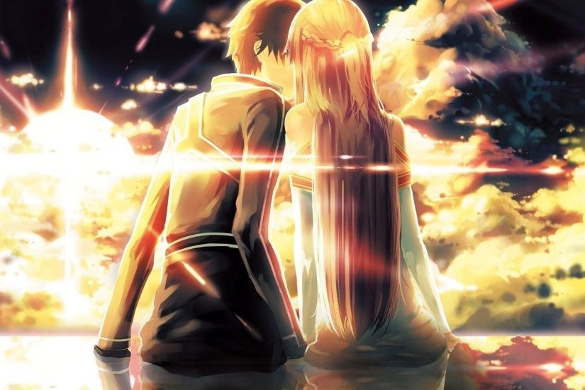 Anime Couple Kiss HD Wallpaper