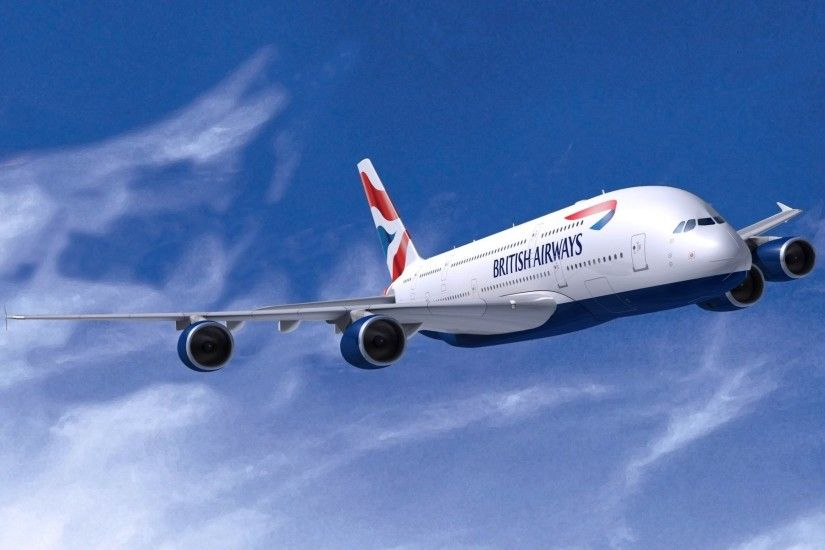 british airways airbus a380 in the air aviation flies plane airliner wings  white