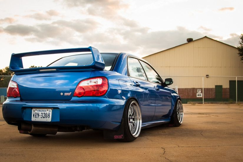1920x1080 Wallpaper subaru, impreza, wrx, sti, blue, rear view