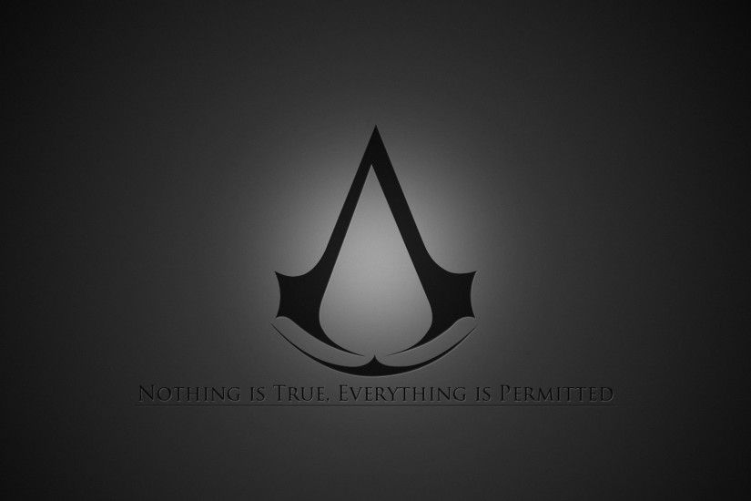 1920x1080 Wallpaper assassins creed, emblem, quote, background, grey