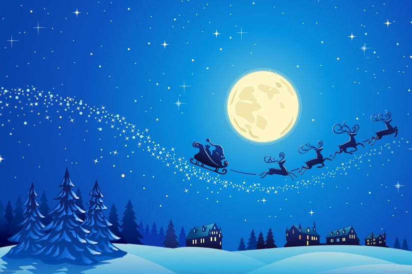 Christmas Eve Santa Claus Raindeer Sleigh Moon Desktop Wallpaper Uploaded  by DesktopWalls