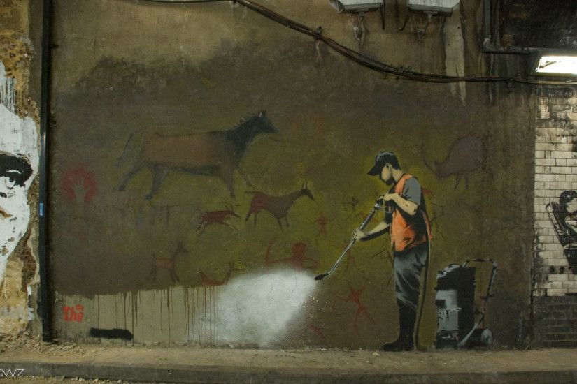 creative wallpaper street art banksy
