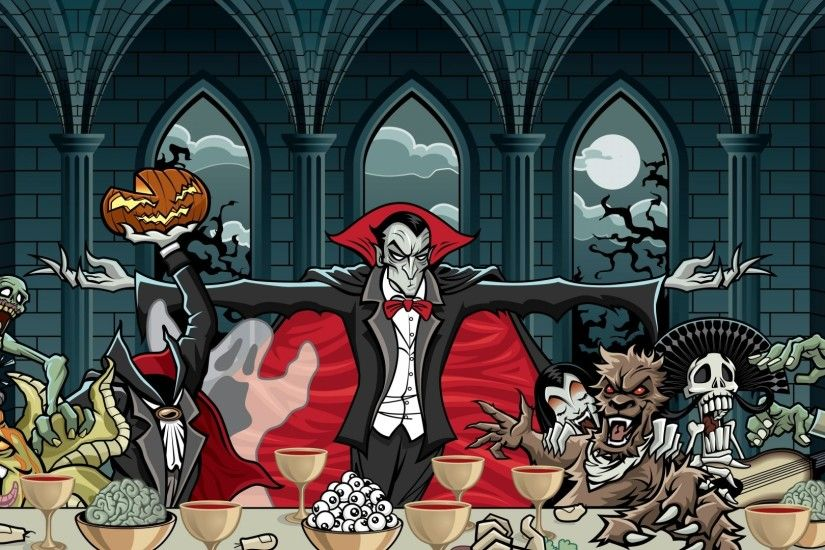 Preview wallpaper dracula, vampire, art, feast, pumpkin, halloween 1920x1080