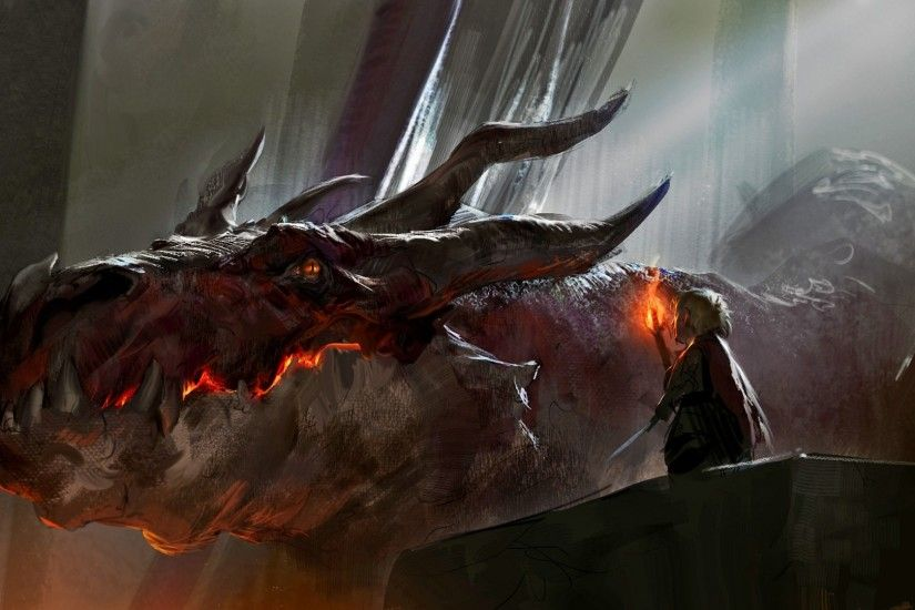 fantasy Art, Dragon, Smaug, The Hobbit Wallpaper HD