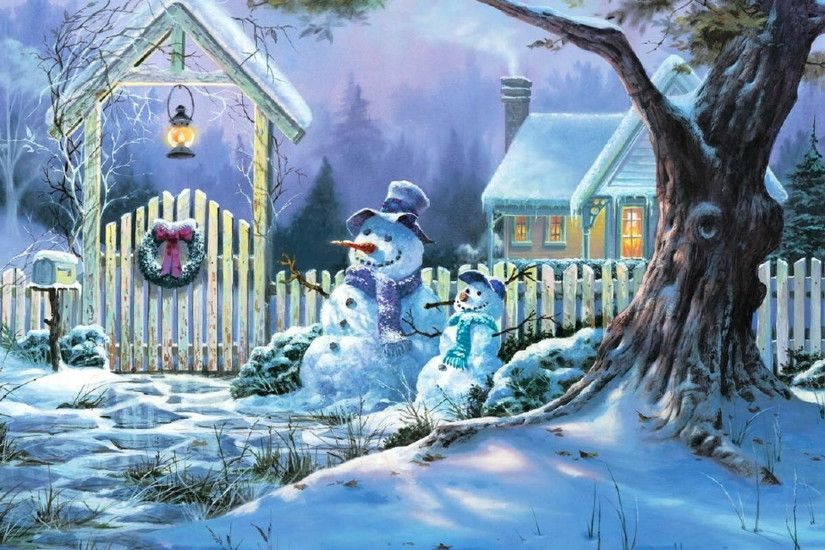 Snowman Christmas Snow Wallpapers