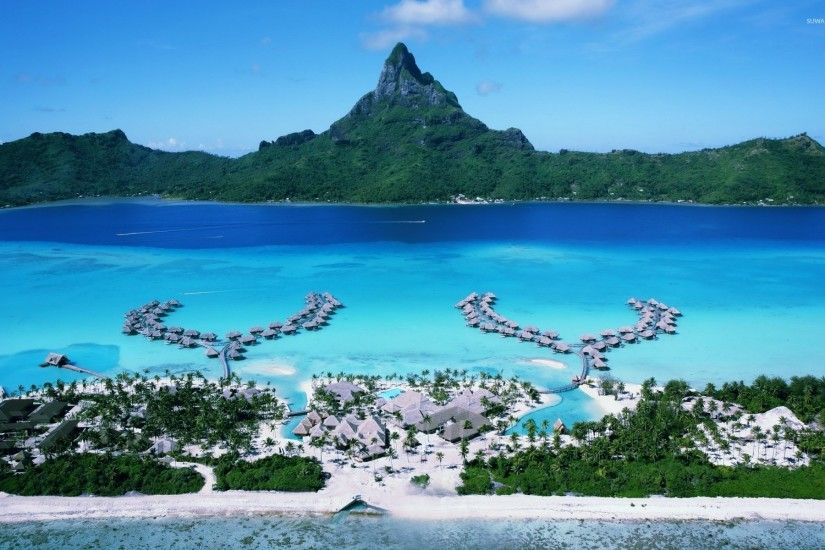 Splendid tropical resort in Bora Bora wallpaper