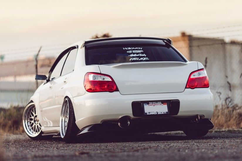 1920x1080 Wallpaper subaru impreza wrx sti, white, rear view