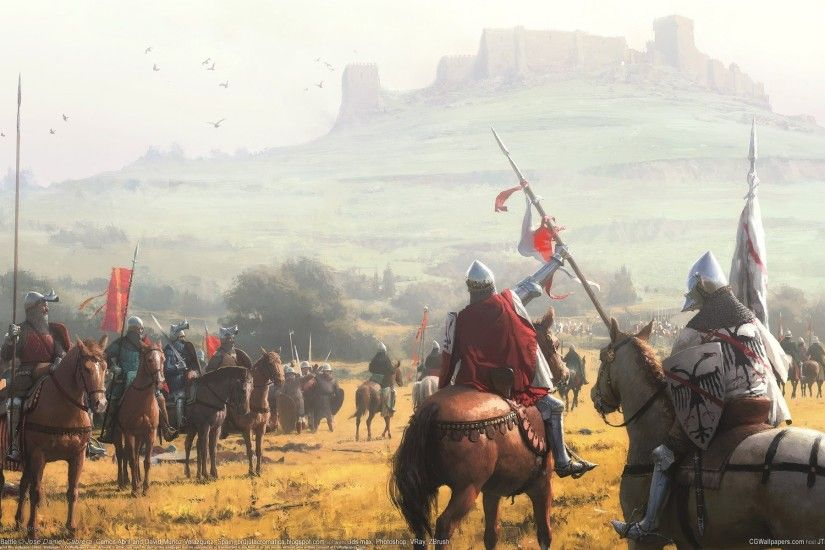 jose daniel cabrera montiel battle cg wallpapers middle ages castle knights  horses middle ages castle hill