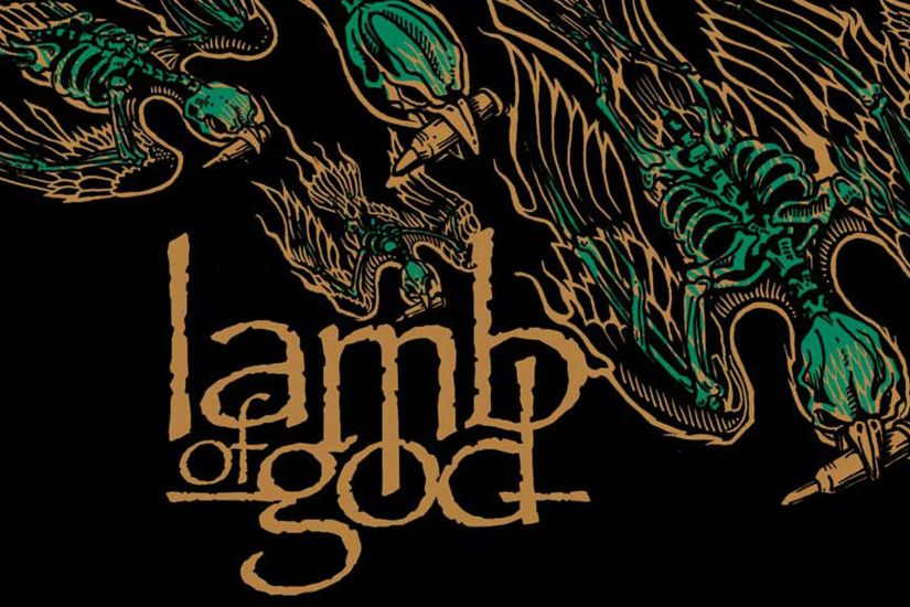 Preview wallpaper lamb of god, letters, birds, skeletons, shells 1920x1080