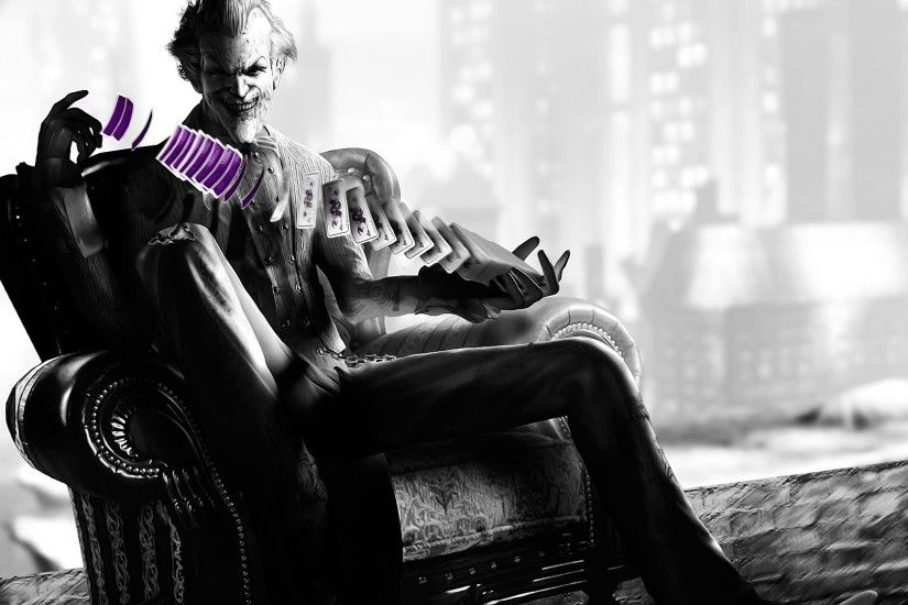 Preview wallpaper batman arkham city, the joker, armchair, cards, trick,  black
