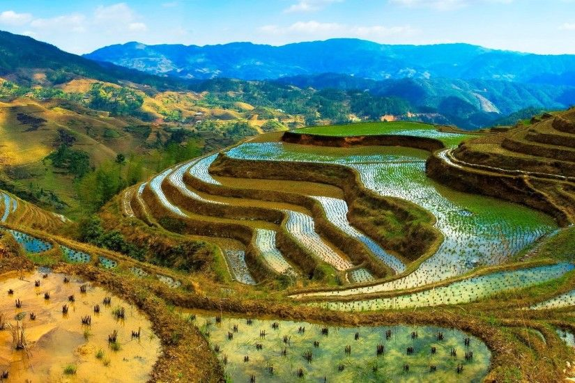 China, terraces, water, mountains, beautiful scenery wallpaper 1920x1080  Full HD