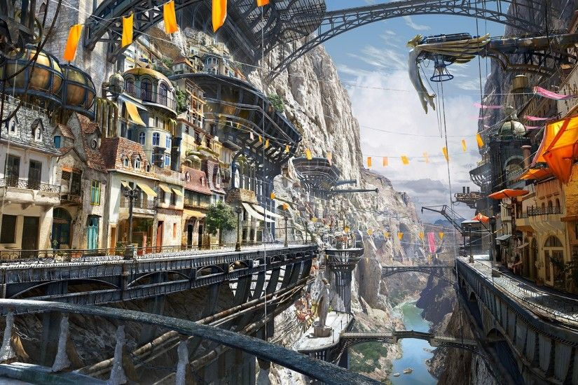artwork, Steampunk, Matte Painting, Digital Art Wallpapers HD / Desktop and  Mobile Backgrounds