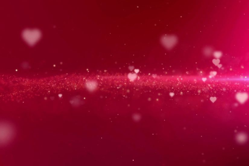 Seamless loop red Valentine flowing hearts and sparkling particles  background