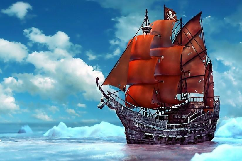 ship ships boat boats pirates ocean sea fantasy wallpaper background .