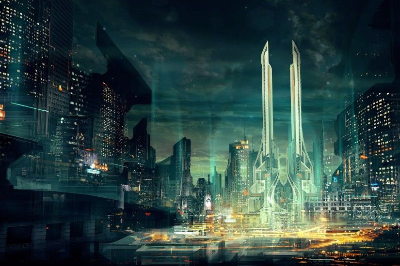 concept art, artwork, cityscape, futuristic, city .