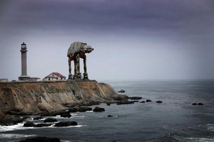 AT-AT Near The Lighthouse Wallpaper