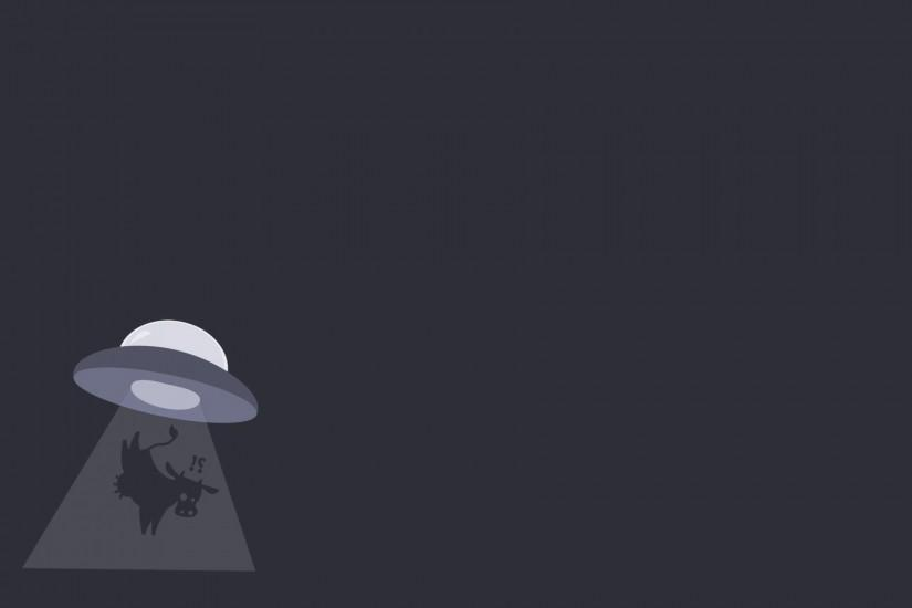 simple Background, Humor, Simple, Aliens, UFO, Animals, Cows, Lights,  Minimalism, Surprised Wallpaper HD