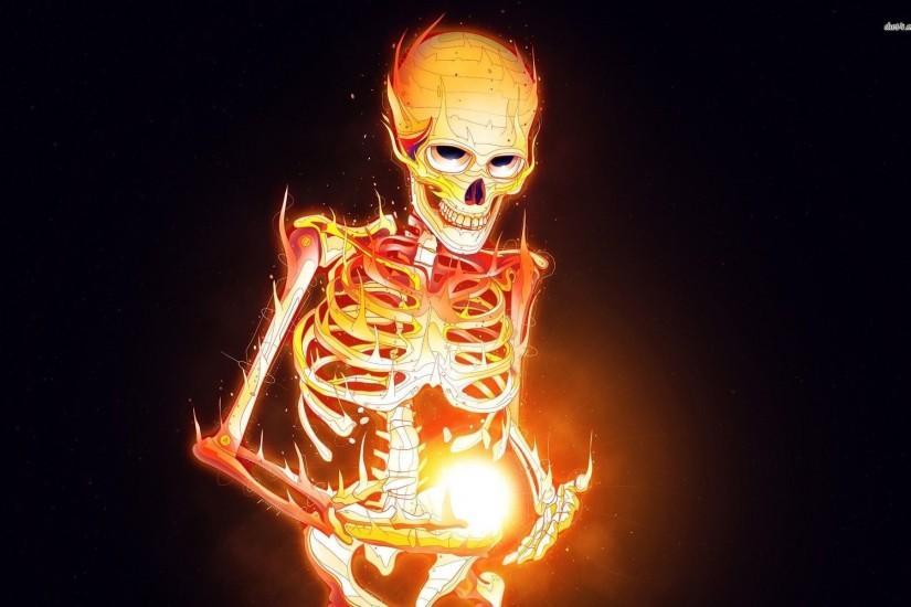 Skeleton On Fire Wallpaper