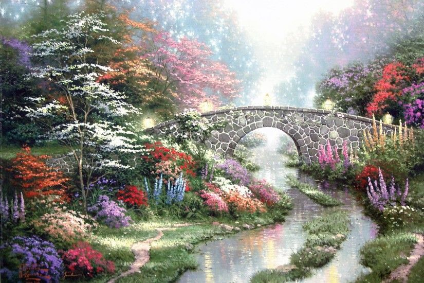 By Thomas Kinkade wallpaper | nature and landscape .