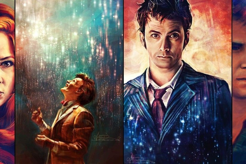 General 1920x1080 Doctor Who The Doctor artwork painting David Tennant Matt  Smith Karen Gillan Amy Pond