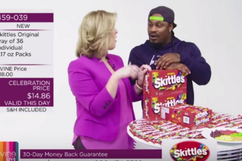 Marshawn Lynch sells Skittles in hilarious home shopping channel video |  NFL | Sporting News
