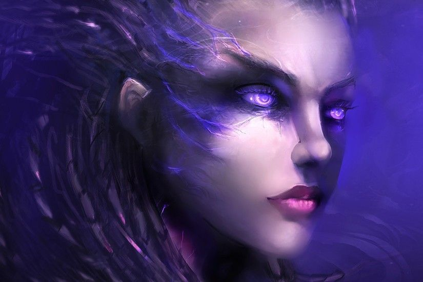 Preview wallpaper starcraft 2, sarah kerrigan, art, face 1920x1080