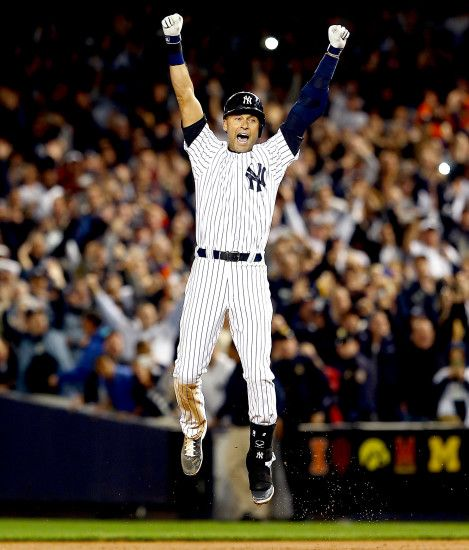 Jeter jumping for joy after Thursday's walk-off.