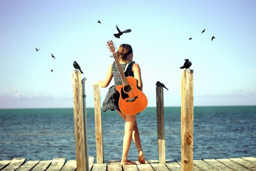Cute Stylish Girls With Guitar Wallpaper