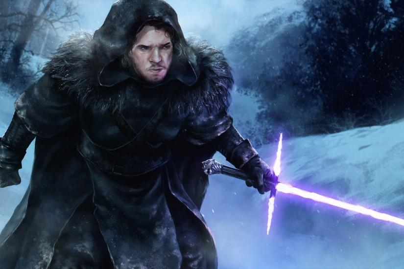 Star Wars, Game Of Thrones, Jon Snow, Artwork, Fantasy Art, Lightsaber