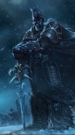 Preview wallpaper warcraft, lich king, sword, cloak, snow, cold 1440x2560