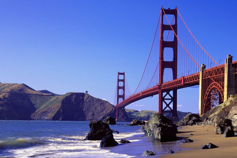 Man Made - Golden Gate Landscape Mountain Scenic Ocean Waterway Beach Hill  Sky Panorama Wallpaper