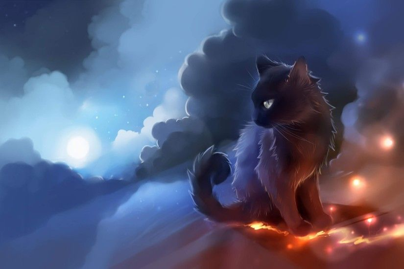 the black cat art painting 4k ultra hd wallpaper