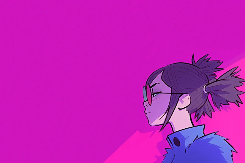 General 1920x1080 Noodle Gorillaz music simple background pink women with  glasses love Ilya Kuvshinov