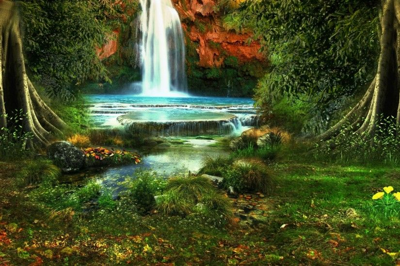 Preview wallpaper waterfall, trees, vegetation, nature, landscape 1920x1080