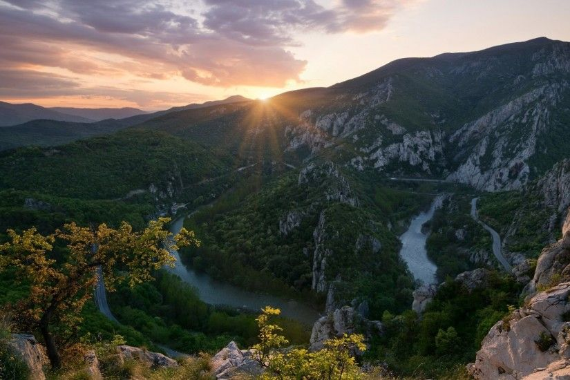 Balcans Tag - Spring Ridge Defile Rock Sun Sunset Mountain Balcans Bulgaria  River Hd Nature Pic