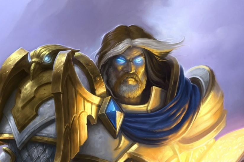 3840x1200 Wallpaper paladin, hearthstone, uther
