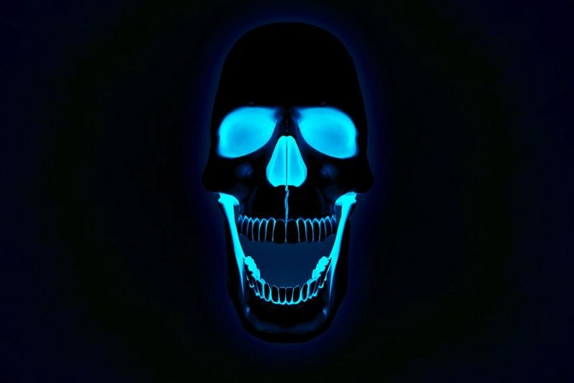 NEON 3D SKULL X RAY BLUE DESKTOP BACKGROUND WALLPAPER (1080p) - HD .