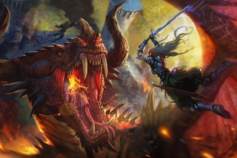 fantasy Art, Dragon, Warrior Wallpapers HD / Desktop and Mobile Backgrounds