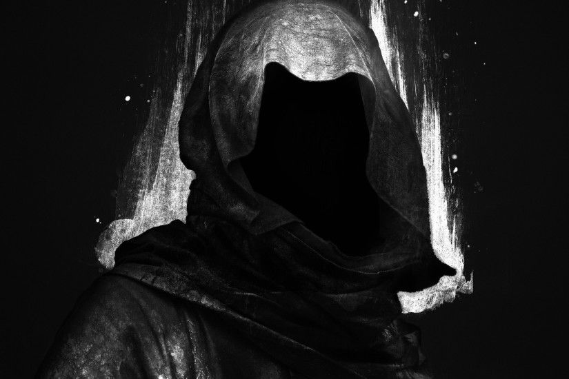 black background, Digital art, Hoods, Faceless, Dark, Grim Reaper Wallpapers  HD / Desktop and Mobile Backgrounds